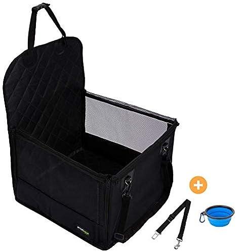 Hundesitz für den Beifahrersitz im Auto – 45 x 45 cm mit 58 cm Rück- & 32 cm Seitenwänden – Gesteppte Sitzfläche & Anti-Rutsc