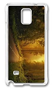 MOKSHOP Adorable enchanted forest way Hard Case Protective Shell Cell Phone Cover For Samsung Galaxy Note 4 - PC Transparent