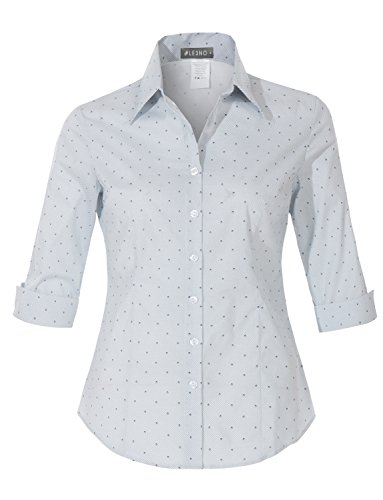 Button Down Tailored Work Shirt (LE3NO Womens Office Work Spade Dot Button Down 3/4 Sleeve Tailored Shirt)
