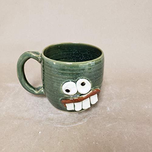 Pottery Coffee Cups and Mugs. Funny Southern Nervous Face Mug. Handmade Ug Chug Overbite Face Mug. Medium 14-18 Ounces. Green