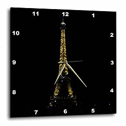 3dRose dpp_38322_1 The Hourly Light Show of The Sparkling Eiffel Tower Wall Clock, 10 by 10-Inch