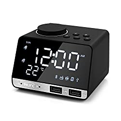 INLIFE Digital Alarm Clock Radio Thermometer Clock LED Alarm Clock Bluetooth Speaker, Alarm Clock with USB Charging, Snooze, Portable Clock, AUX TF Card Play