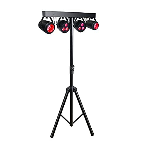 OPPSK Stage Lights Package with 4in1 RGB/UV Gamut 3x4-watts LED Par and Moonflowers Effects Lighting, Tripod and Carry Bag for DJ Gig Bar Christmas - Stage Lighting Package