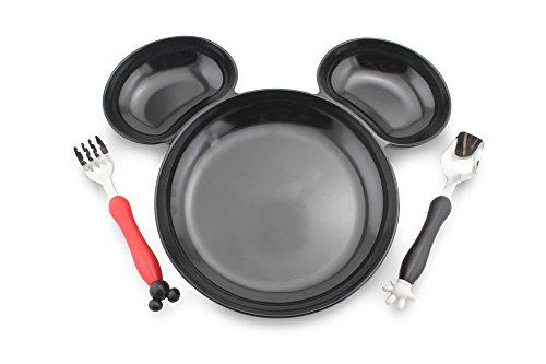 Disney Christmas Plate - Finex Mickey Mouse Head Shape BPA free Plastic Plate with spoon and fork set (Black)