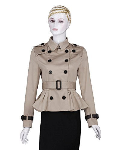 AURORA Women's Trench Coats double breasted Spring Pleated Short Belted Jacket,Khaki,M(US - Jacket Short Trench