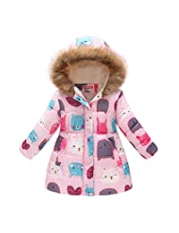 CX.AZUL Girls Toddler Cartoon Cat Animal Winter Warm Down Hoodies Coat Jacket with Faux Fur
