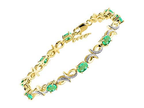 Stunning Emerald & Diamond Infinity Tennis Bracelet Set in Yellow Gold Plated Silver - Adjustable to fit 7