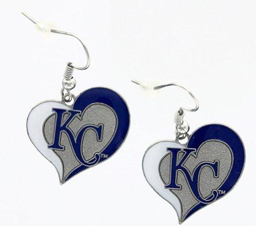 (aminco Kansas City Royals KC MLB Swirl Heart Dangle Logo Earring Set )