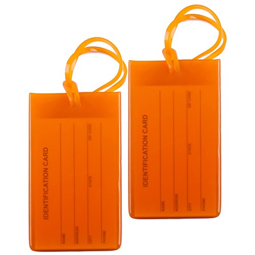 2 Packs Colorful Flexible Travel Luggage Tags for Baggage Bags/Suitcases - Name ID Labels Set for Travel - Orange