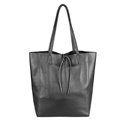 Obc Made In Italy Sac à main pour femme Sac à main en cuir Din-a4 avec poignées d'épaule effet tressé - Bronze métallisé, ca 36x40x12 cm (Bxhxt) Noir