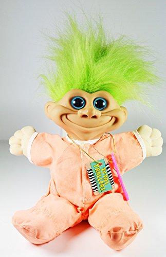 troll-doll-kid-in-orange-pjs-green-hair-blue-eyes-11-tall-by-total-troll