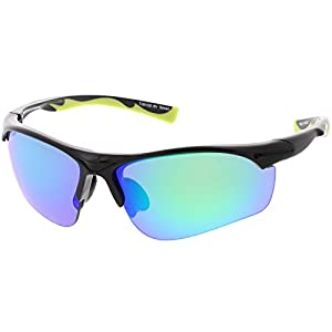sunglassLA - Sports Semi-Rimless TR-90 Wrap Sunglasses Slim Arms Colored Mirror Lens 65mm (Black / Green Blue Mirror)