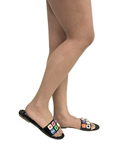 Emily 66! Sandali Con Laccetti Colorati Lucidi Delle Donne In Similpelle Nera