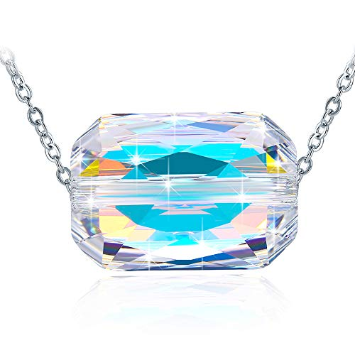 Necklace for Mother's Day, ZHULERY Crystals from Swarovski Square Necklaces Pendant With 925 Sterling Sliver, 18