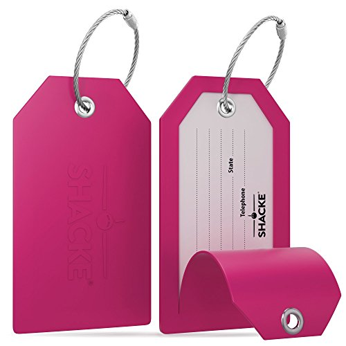Shacke Luggage Tags with Full Back Privacy Cover w/Steel Loops - Set of 2 (Pink) (Picture Luggage Tags)