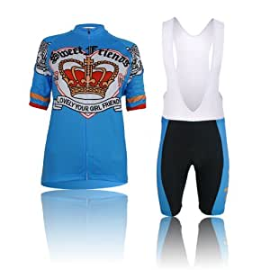 MeMeNG Cycling-sports Speed Fitness Women's Short Sleeve Strap Summer Riding Clothes Suit Perfect Perspiration Breathable Cycling Jersey Suit XX-Large