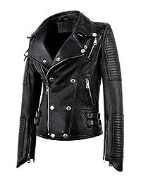 Hemskin Womens Motorcycle Biker Bomber Black Real Leather Jackets Women