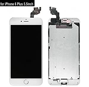 Full Digitizer Assembly for iPhone 6 Plus (5.5 Inch) LCD Display Screen Replacement with Home Button + Front Camera + Proximity Sensor + Ear Speaker + Repair Tools, not for iPhone 6