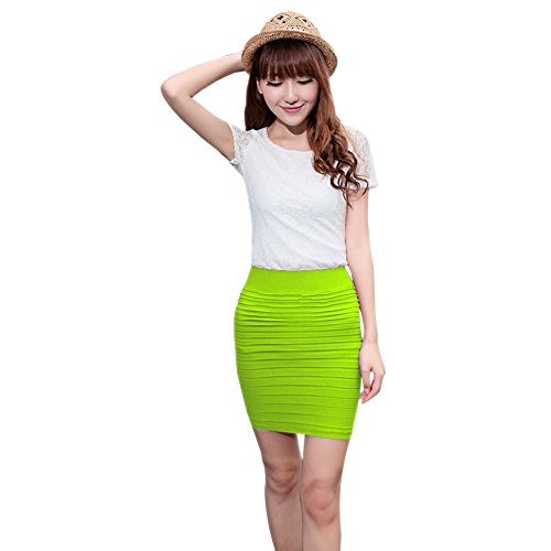Taille Crayon Clair BOZEVON Femmes Bande Elastique Jupe Couleur Jupe Vert Coton Unie qwfSCFWw