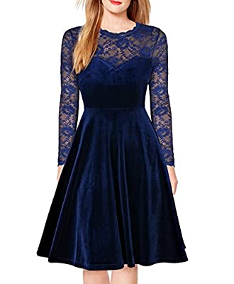 FORTRIC Women Vintage Floral Lace Long Sleeve Cocktail Party Formal Swing Dress