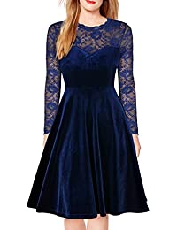 Women Vintage Floral Lace Long Sleeve Cocktail Party Formal Swing Dress