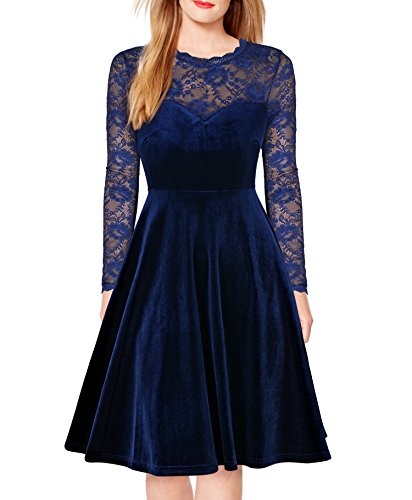 FORTRIC Women Vintage Floral Lace Long Sleeve Cocktail Party Formal Swing Dress Blue M by FORTRIC