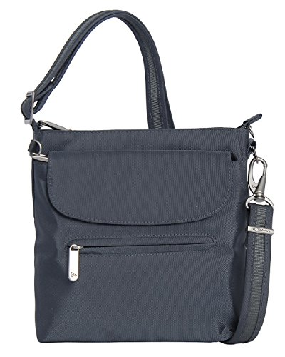 (Travelon Anti-Theft Classic Mini Shoulder Bag (One Size, GREY w Leaf Print Lining))