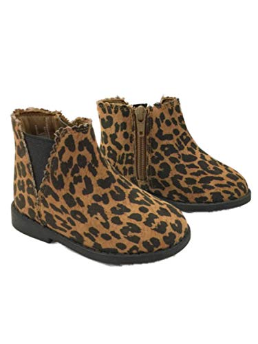 Infant Girls Brown & Black Leopard Print Ankle Boots Baby Cheetah Shoes 4