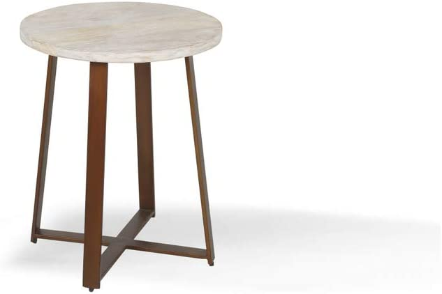 Alveare Home Paige Round Side Table, White WASH