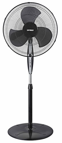 "Optimus F-1872 Oscillating Stand Fan with Remote Control, 18"", Black"