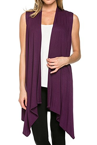 Cardigans for Women Solid Color Sleeveless Asymetric Hem Open Front Drape Long Cardigan Vest -Eggplant (Medium)