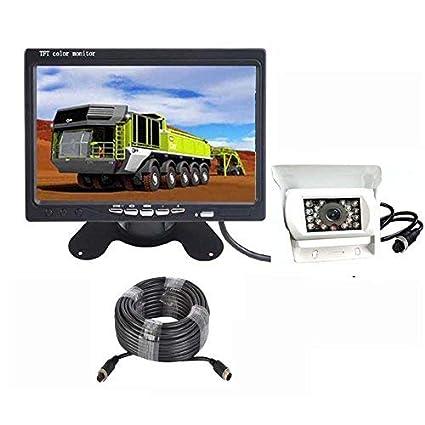 0f15f1e8a White Vehicle Backup Camera with Monitor Kit 4 Pin HD 18 LED IR Night  Vision Reverse