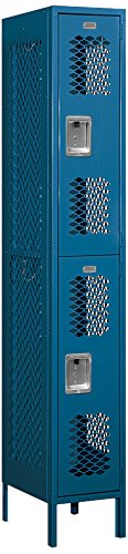 Salsbury Industries 72168BL-U Double Tier 12-Inch Wide 6-Feet High 18-Inch Deep Unassembled Vented Metal Locker, Blue