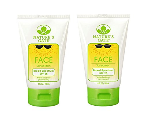 Nature's Gate Face Broad Spectrum SPF 25 Sunscreen (Pack of 2) With Cucumber Fruit Extract, Coconut Oil and Sweet Almond, 4 fl. oz. Each