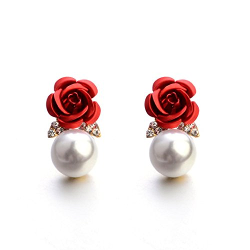 (Paymenow Womens Girls Bohemia Earrings Fashion Summer Rose Pearl Circle Ear Clip Nice Jewelry (Red))