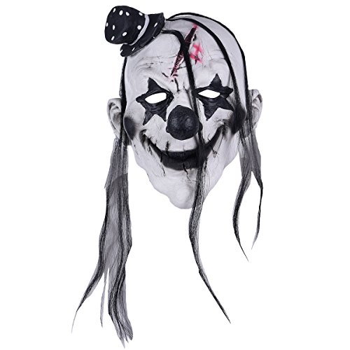 Hophen Scary Evil Clown Latex Mask Halloween Horror Cosplay Costume Prop (Blake Hat)