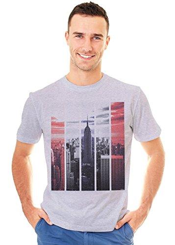 Retreez USA New York City Manhattan The Empire State Graphic Printed Unisex Men/Boys/Women T-Shirt Tee - Light Grey - Medium