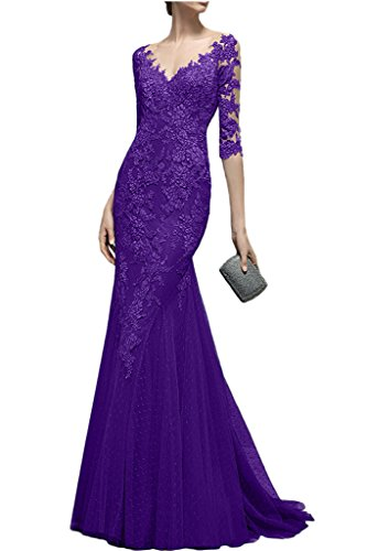 Dress Halfsleeve Dress Neck Noble Purple Evening Avril Mermaid Appliques See V through wv56Idqd