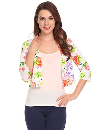 (Dealwell Women Casual Floral Short Slim Fit Blazer Open Front Shrug)