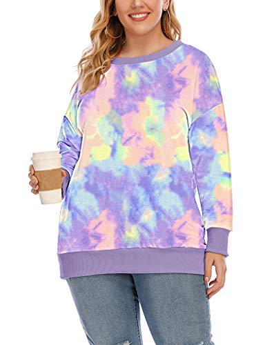 YASAKO Womens Plus Size Casual Tie Dye Camo Print Long Sleeve Shirts Crew Neck Loose Fit Sweatshirt Pullover Tops (Tie Dye-B, 2X-Large)