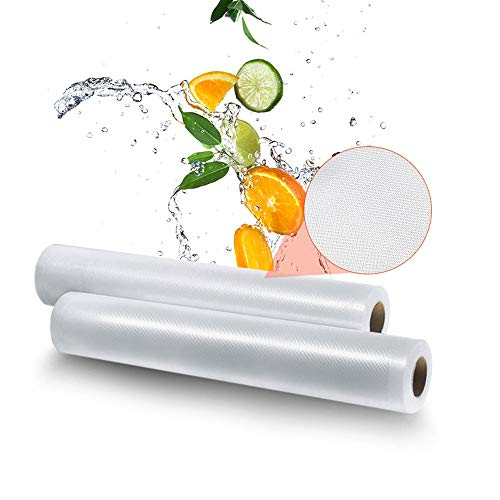 Vacuum Sealer Bags 2 Rolls 7.78×16.40″ for Food Saver Storage Seal A Meal Sous Vide Cooking Dry Moist Modes