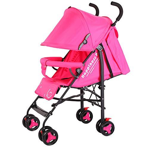 (Giow Lightweight Stroller, Folding Umbrella Reclining Four-Wheel Seat Belt,Pink)