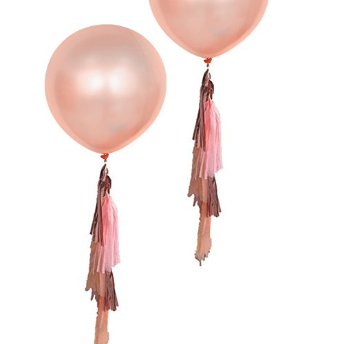 Fonder Mols 17pcs 36'' Giant Round Rose Gold Tassel Balloons for Wedding, Baby Shower, Event & Party Supplies Decoration by Fonder Mols