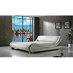 Greatime B1070 Eastern King White Comtemparay Upholstered Bed