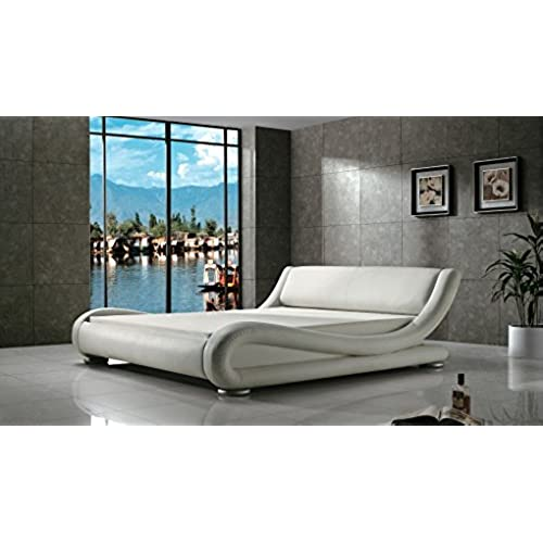 Greatime B1070 Contemporary Upholstered Bed, Queen, White