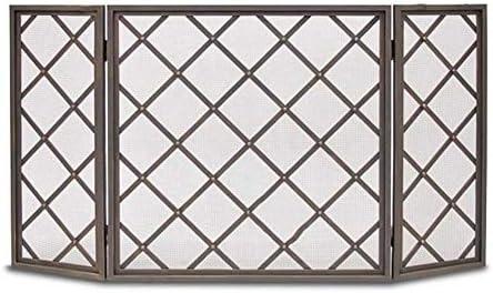 暖炉スクリーン ヘビーデューティファイアガード/ストーブスクリーン、グリッドの設計のための赤ちゃん/ペットの安全性、黒の3パネル折り畳み式の鉄暖炉スクリーン