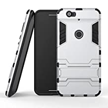 Nexus 6P Case,Lantier Dual Layer Case with Built-in Kickstand,Lightweight Slim Fit Dual Layer Hybrid Armor Protective Case Cover for Nexus 6P Sliver