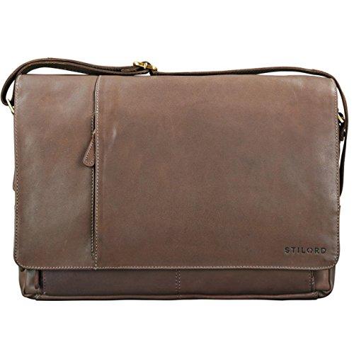 STILORD Borsa a tracolla Notebook Bag College Bag 15,6 pollici Borsa per luniversità in vera pelle pelle marrone marrone - grigio