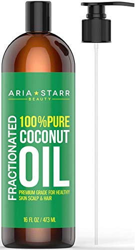 Aria Starr Fractionated Coconut Oil (16 OZ Pump) Best Carrier Oil For Essential Oils, 100% Pure Liquid Natural Odorless Moisturizer For Hair Skin Body, Aromatherapy, Massage, Makeup Remover