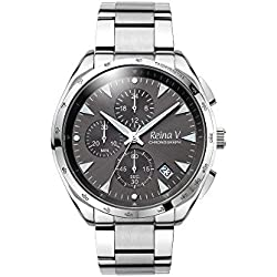 Men's Wrist Watch - Monochromatic Stainless Steel With Dark Grey Dial - Precision Chronograph Function, Japanese Quartz - Robert Collection By Reina V